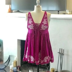 Free People | Pink Embroidered Babydoll Aida Dress
